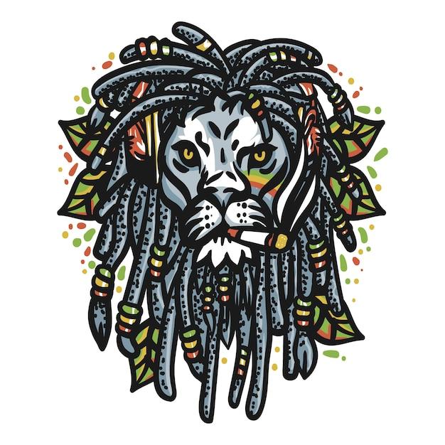 Lion head marijuana Premium Vector