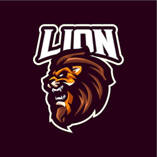 Логотип талисмана головы льва для команды по киберспорту и спорту Premium векторы