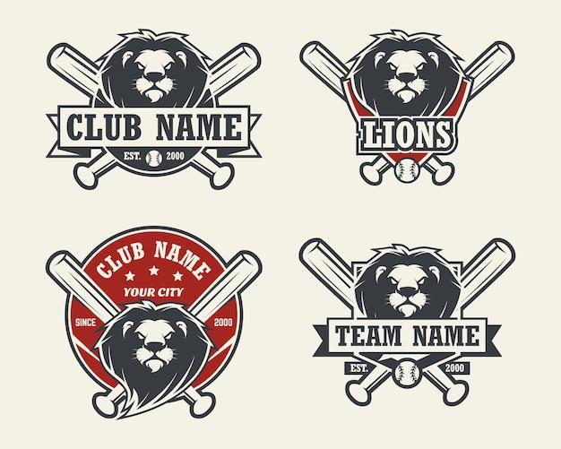 ライオンヘッドスポーツのロゴ。野球のエンブレム、バッジ、ロゴ、ラベルのセット。 Premiumベクター