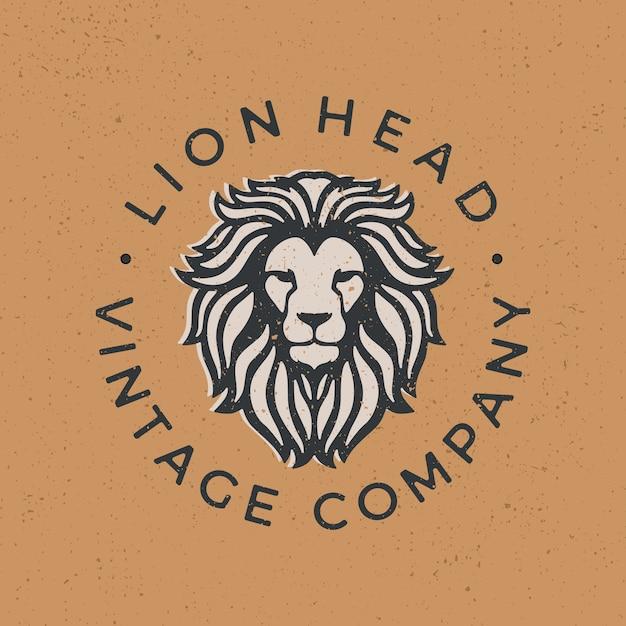 Голова льва старинный логотип значок иллюстрации Premium векторы
