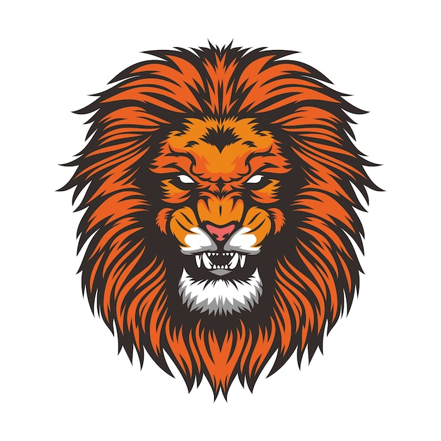 lion head wild animal mascot vector illustration template vector rh freepik com vector lion tattoo vector lion logo