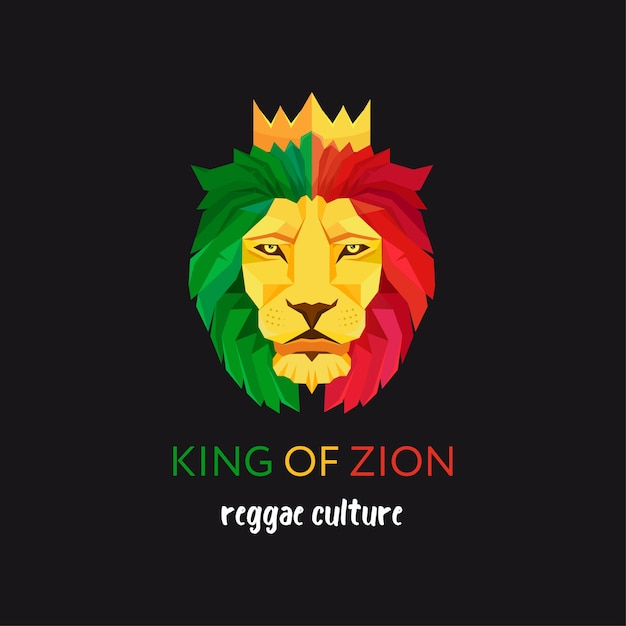 Lion head with crown Premium Vector