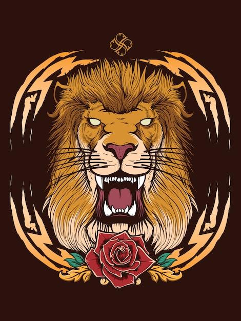 紋章のあるライオンの頭 Premiumベクター
