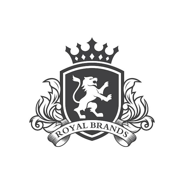 Lion heraldry logo Premium Vector