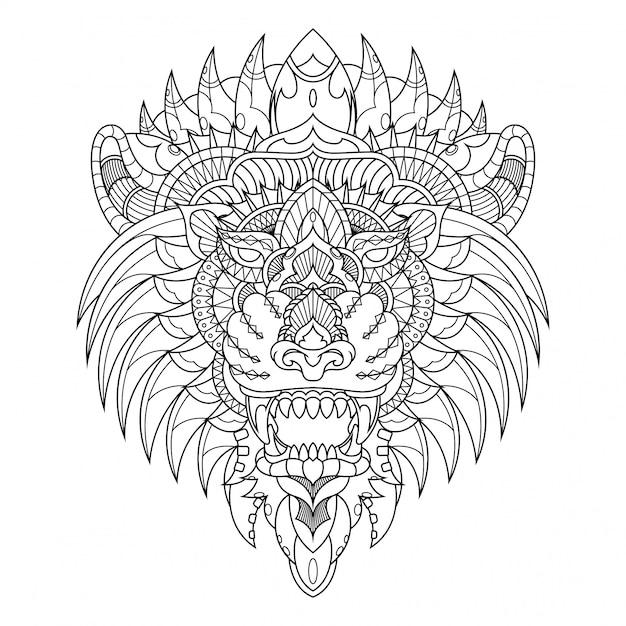 ライオンイラスト、直線的なスタイルの塗り絵でマンダラzentangle Premiumベクター