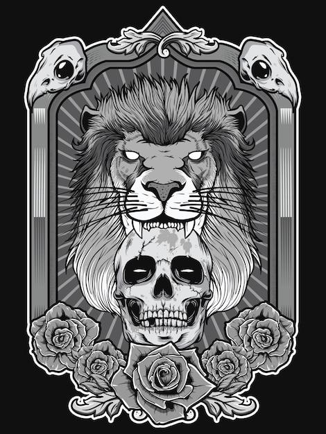 頭蓋骨と紋章のフレームの背景とライオンのイラスト Premiumベクター
