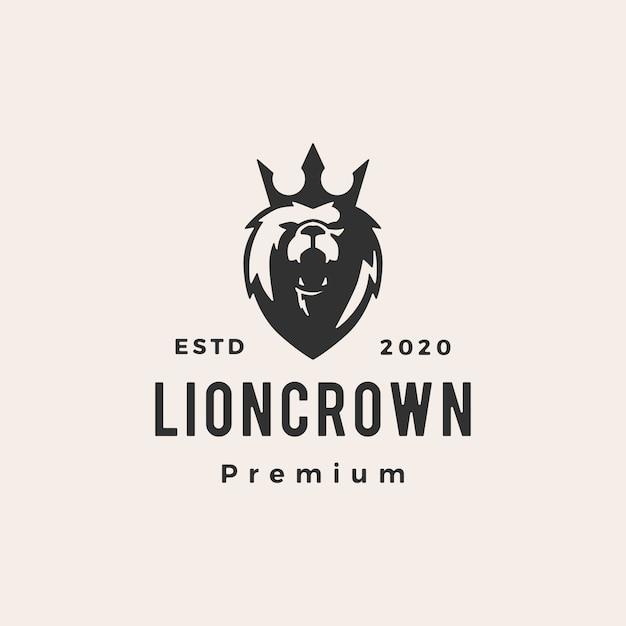 Король лев корона битник старинные логотип значок иллюстрации Premium векторы