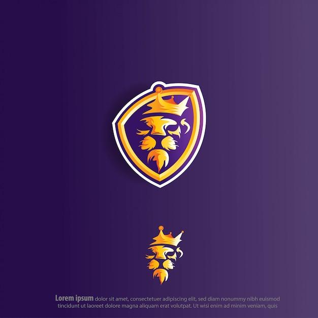 Lion king e sport logo vector Premium Vector