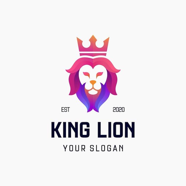 Король лев градиент дизайн логотипа Premium векторы