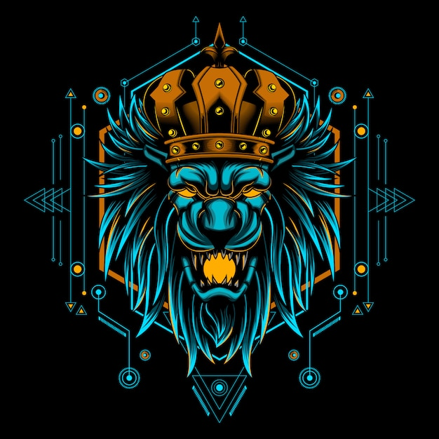 Lion king head mystic vector illustration geometry Premium Vector