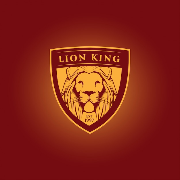 Lion king mascot logo design Premium Vector