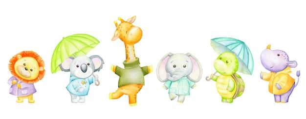 사자, 코알라, 기린, 코끼리, 거북이, 하마, 우산. 열대 동물의 수채화 세트입니다. 프리미엄 벡터