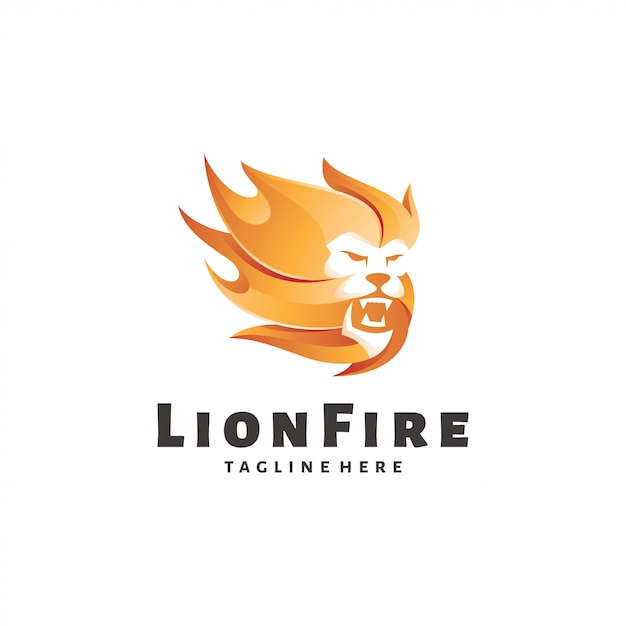 Lion leo and fire flame logo Premium Vector