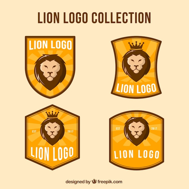 Lion logo collection with vintage style
