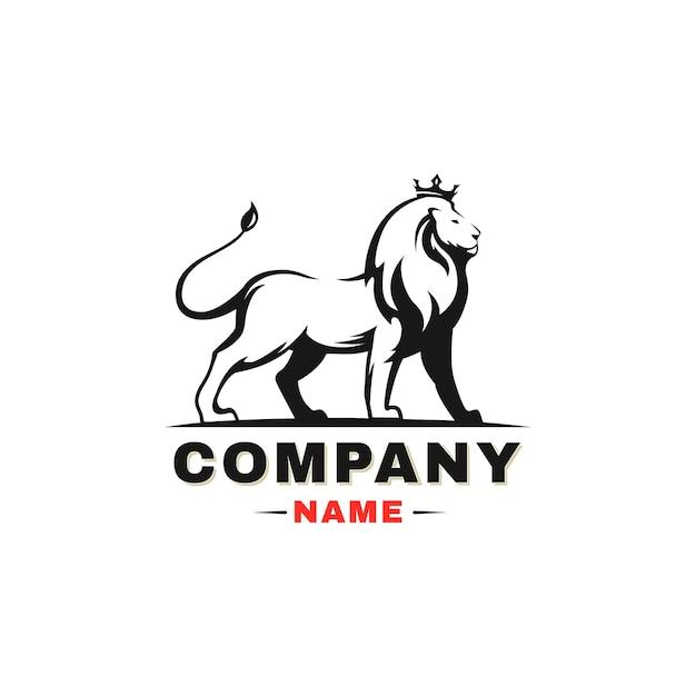 ライオンのロゴ。白い背景の上の王冠を持つライオン。 Premiumベクター