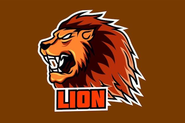 Шаблон логотипа киберспорта с головой талисмана льва Premium векторы