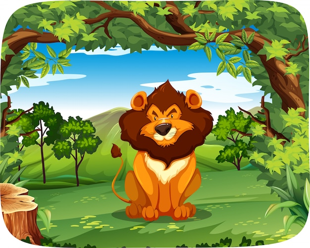 Lion on the nature scene Free Vector