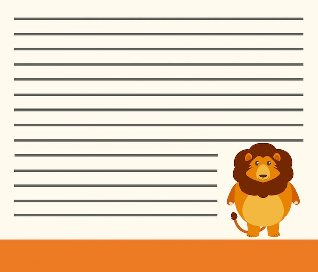 Lion on note template Free Vector