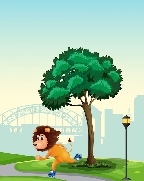 A lion playing roller skate in the park Free Vector