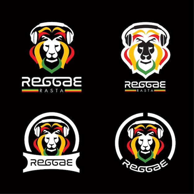 Lion reggae rasta logos Premium Vector