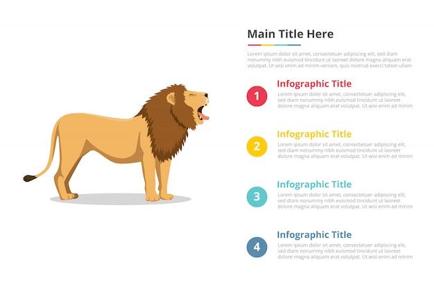 Lion roar infographics template Premium Vector
