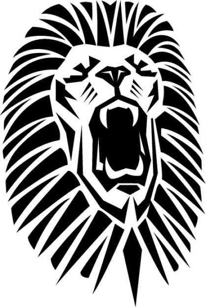 lion roaring with opened mouth vector | free download