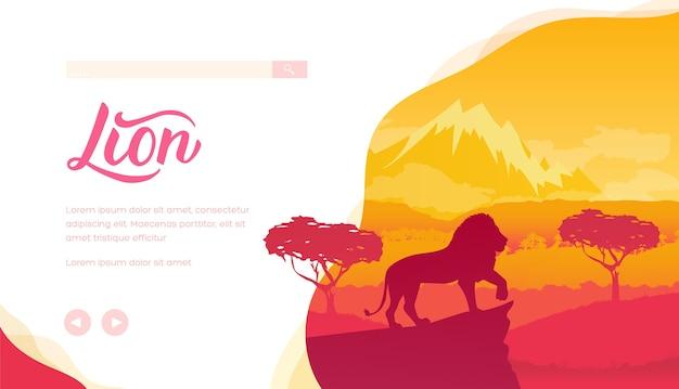 中のサバンナのライオンのシルエット。大きな猫が崖の上に立っています。木々、山々のあるアフリカの風景。 Premiumベクター