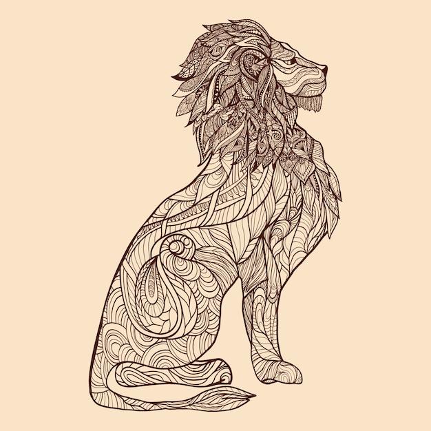 Lion sketch illustration Free Vector