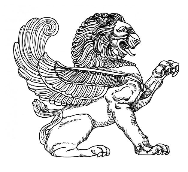 Lion statue Premium Vector