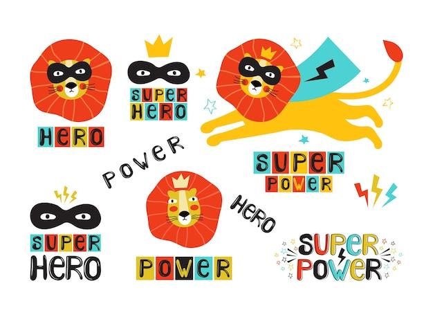 黒いマスクとマントとレタリング、ステッカーセットのライオンのスーパーヒーロー Premiumベクター