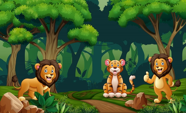 Lion and tiger living in the jungle Premium Vector