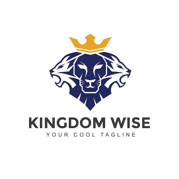Lion With Crown Logo Premium Vector