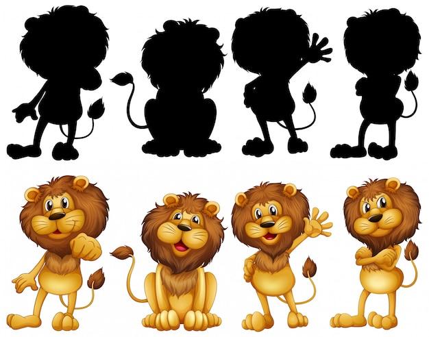 Лев со своим силуэтом Premium векторы