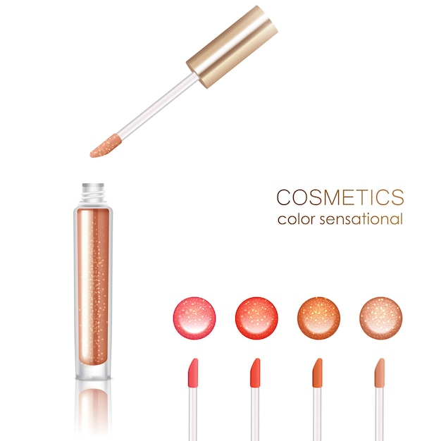 Lip gloss realistic set with cosmetics symbols isolated vector illustration Free Vector