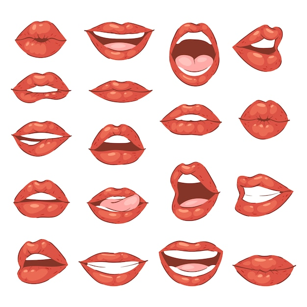 Lip kiss cartoon smile and beautiful red lips or fashion lipstick and sexy mouth kissing lovely on valentines day set illustration isolated on white background Premium Vector