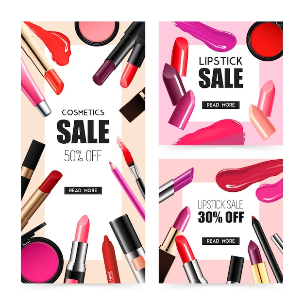 Lip makeup realistic sale banners Free Vector