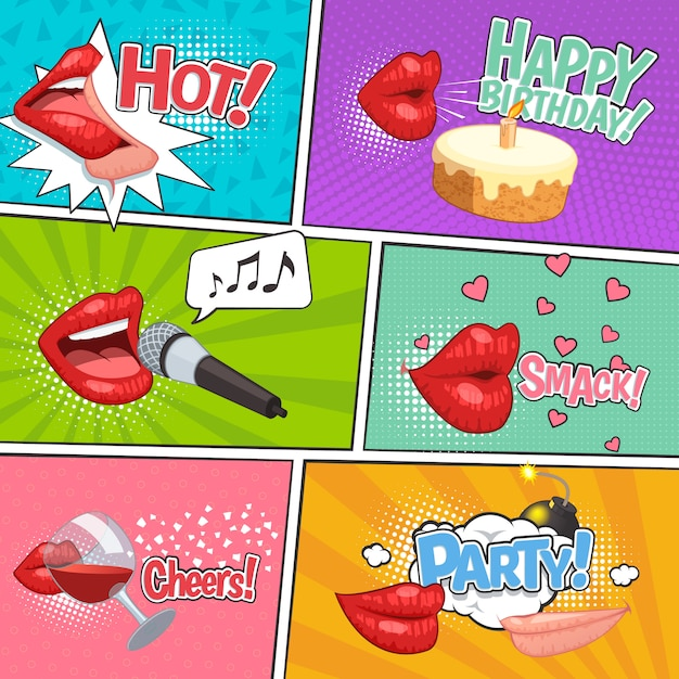 Lips party comic page set with junk colorful compositions Free Vector