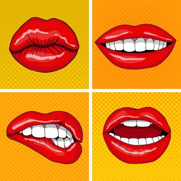 Lips set in retro pop art style Premium Vector