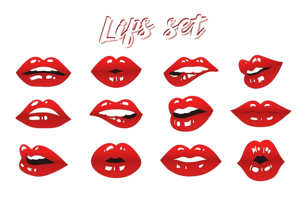 Lips set vector design Premium Vector