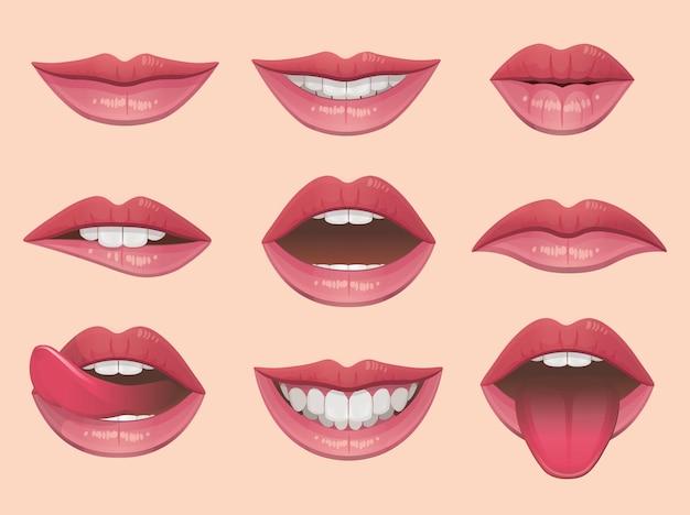 唇はベクトル図を設定します。 Premiumベクター