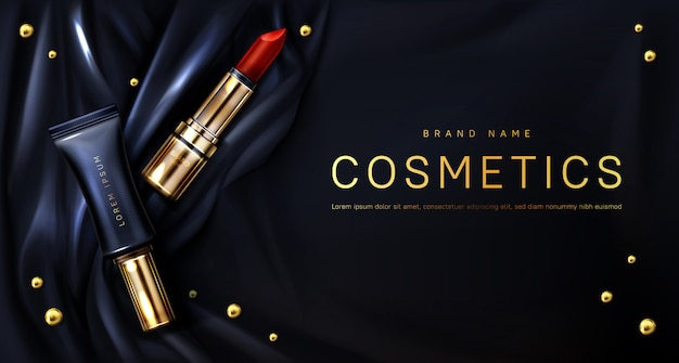 Lipstick cosmetics make up beauty product banner Free Vector