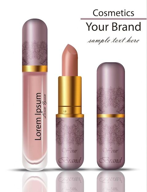 口紅化粧品のリアルなモックアップセット。レースのオーナメントパッケージングオリジナルデザインのマットリップグロス Premiumベクター