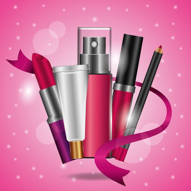 Lipstick eyeliner Premium Vector