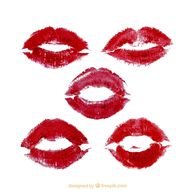 lipstick kisses collection in red and rose color vector free download