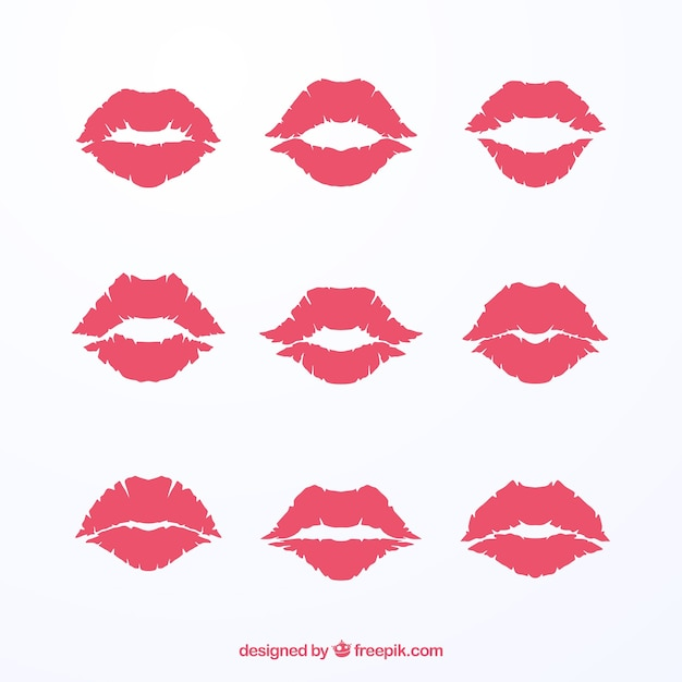 Lipstick kisses collection in red and rose color Free Vector
