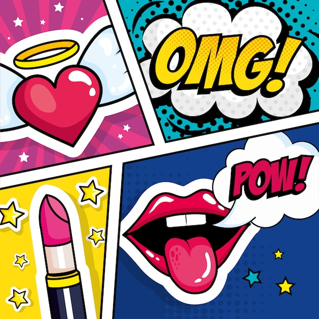 Lipstick with expressions and heart pop art style Premium Vector