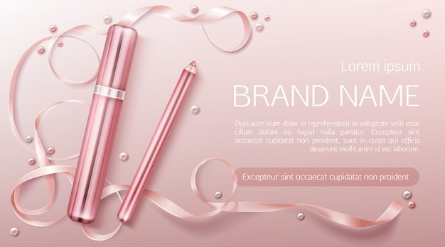 Lipstick with ribbon banner template Free Vector