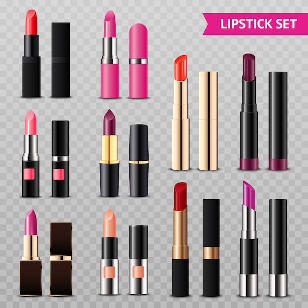 Lipsticks assortment realistic set transparent Free Vector