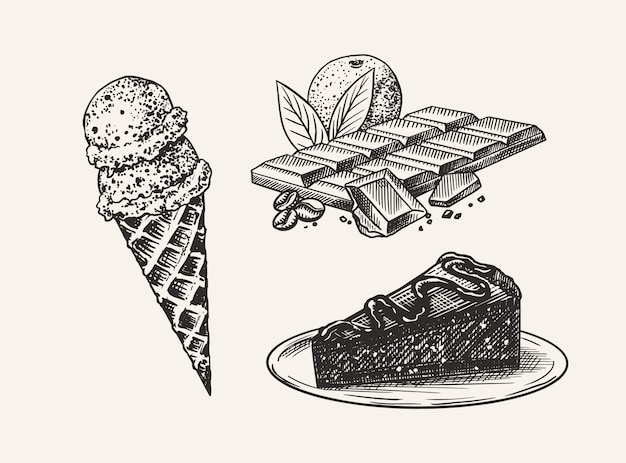 Liqueur dessert. ice cream and cake and chocolate bar. engraved hand drawn vintage sketch. woodcut style.  illustration for menu or poster. Premium Vector
