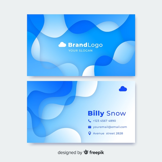 Liquid abstract business card template Free Vector